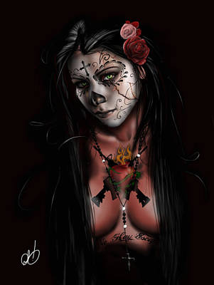 Black Woman Painting - Dia De Los Muertos 3 by Pete Tapang