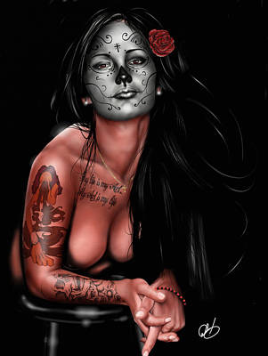 Pin-up Painting - Dia De Los Muertos 4 by Pete Tapang