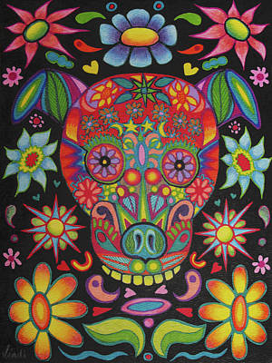 Painting - Dia De Los Muertos Dog by Lindi Levison