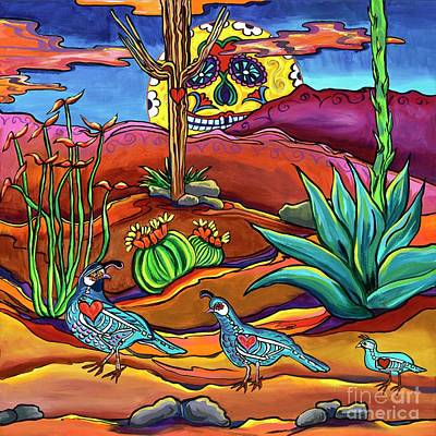 Contemporary Landscape Painting - Dia De Los Muertos-family Time by Alexandria Winslow