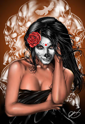 Erotic Painting - Dia De Los Muertos Remix by Pete Tapang