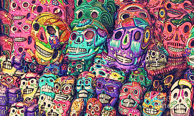 Painting - Dia De Los Muertos Sugar Skulls by Gregory Dyer