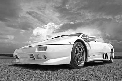 Sportscar Photograph - Diablo Drama In Black And White by Gill Billington