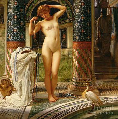 Bird Bath Painting - Diadumene by Sir Edward John Poynter