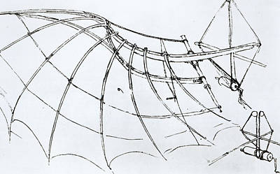 Pen And Ink Drawing Drawing - Diagram Of A Mechanical Wing by Leonardo Da Vinci