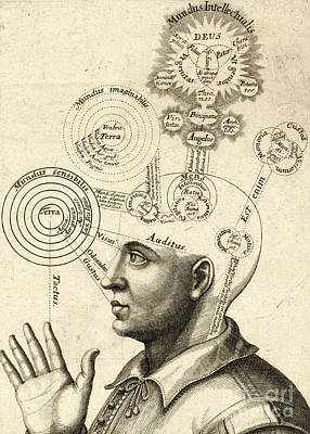 Diagram Of Human Thought And The Four Senses Art Print by European School