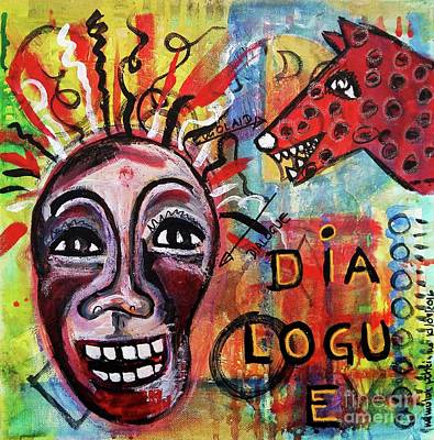 Intuitive Mixed Media - Dialogue Between Red Dawg And Wildwoman-self by Mimulux patricia no No