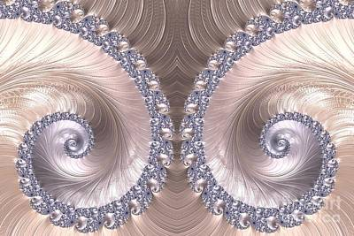 Digital Art - Diamond And Pearl Seashell Swirls Fractal Abstract by Rose Santuci-Sofranko