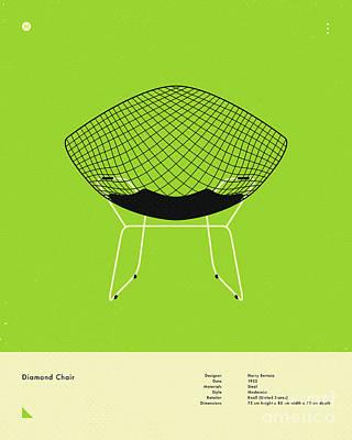 Infographic Digital Art - Diamond Chair 1952 by Jazzberry Blue
