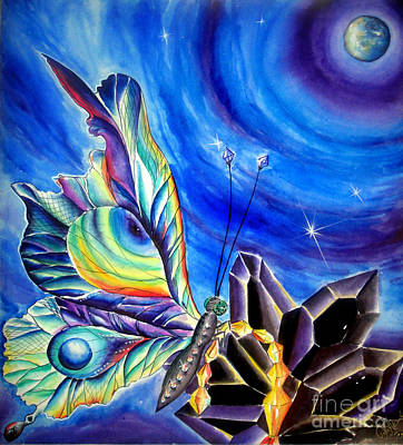 Planet Fantastic Painting - Diamond Crystal Butterfly From Space by Sofia Metal Queen