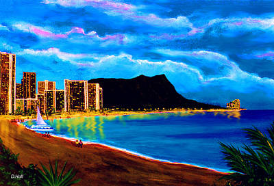 Diamond Head And Waikiki Beach By Night #92 Art Print by Donald k Hall