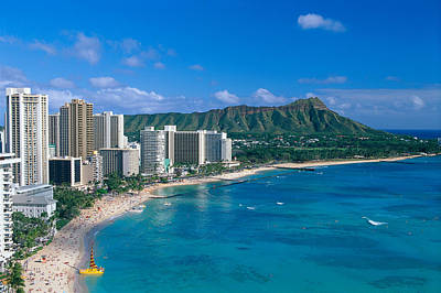 Aerial Photograph - Diamond Head And Waikiki by William Waterfall - Printscapes