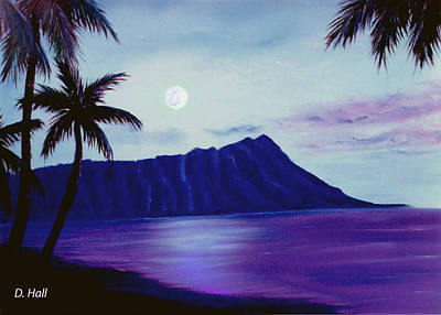 Diamond Head Moon Waikiki #34 Art Print by Donald k Hall