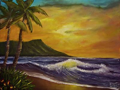 Diamond Head Sunrise Oahu #414 Art Print by Donald k Hall