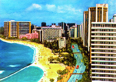 Diamond Head Waikiki Beach Kalakaua Avenue #94 Art Print by Donald k Hall