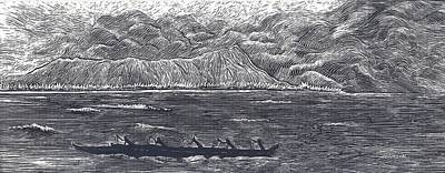 Outrigger Drawing - Diamond Head With Outrigger by Cynthia Conklin