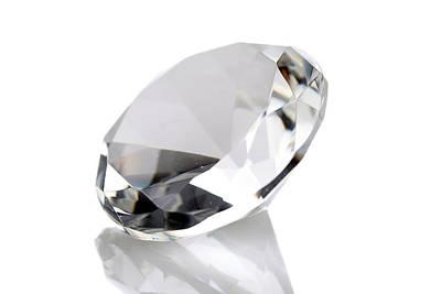 Diamond Isolated On White Art Print by Michael Ledray