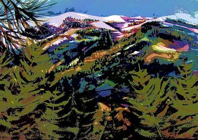 Colorado Ski Art Wall Art - Painting - Diamond Mtn Watercolor Digital by Therese Fowler-Bailey