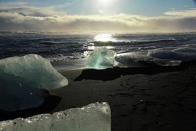 Photograph - Diamond On Diamond Beach Black Sand Waves Clouds Iceland 2 2162018 1982.jpg by David Frederick