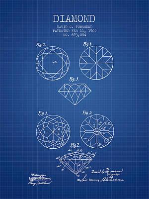 Diamond Patent From 1902 - Blueprint Art Print