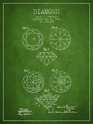 Diamond Patent From 1902 - Green Art Print