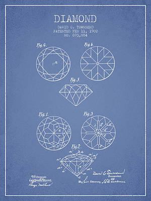 Earrings Digital Art - Diamond Patent From 1902 - Light Blue by Aged Pixel