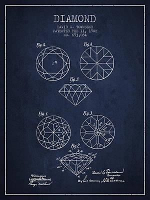 Diamond Patent From 1902 - Navy Blue Art Print