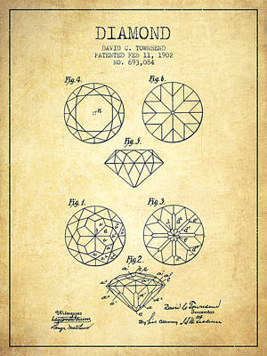 Diamond Patent From 1902 - Vintage Art Print by Aged Pixel