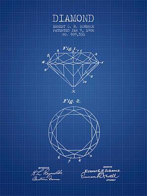 Diamond Patent From 1906 - Blueprint Art Print