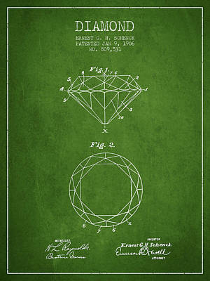 Diamond Patent From 1906 - Green Art Print by Aged Pixel