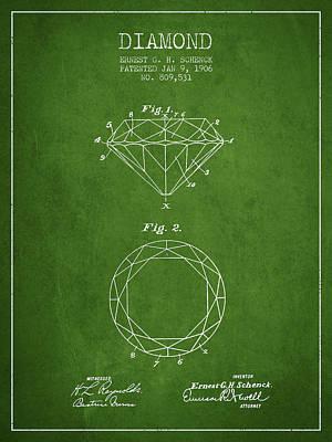 Earrings Digital Art - Diamond Patent From 1906 - Green by Aged Pixel