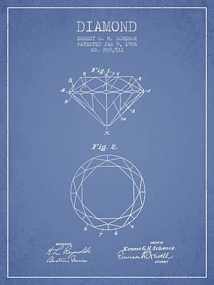 Diamond Patent From 1906 - Light Blue Art Print by Aged Pixel