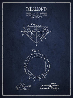 Diamond Patent From 1906 - Navy Blue Art Print by Aged Pixel