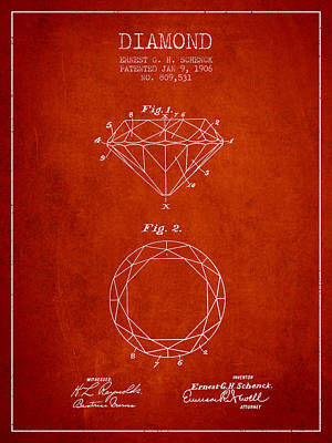 Diamond Patent From 1906 - Red Art Print by Aged Pixel