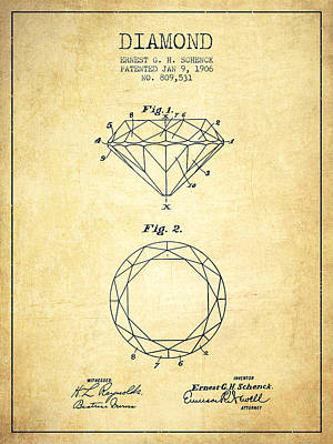 Diamond Patent From 1906 - Vintage Art Print by Aged Pixel