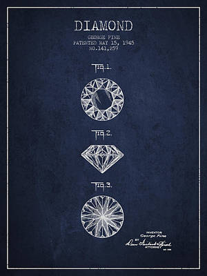 Diamond Patent From 1945 - Navy Blue Art Print