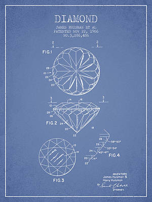 Diamond Drawing - Diamond Patent From 1966- Light Blue by Aged Pixel