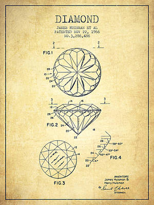 Diamond Drawing - Diamond Patent From 1966- Vintage by Aged Pixel