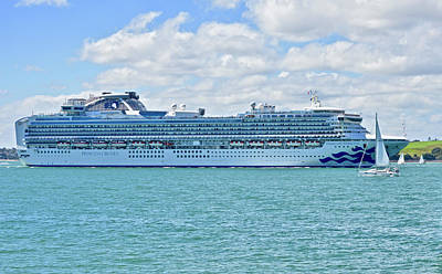 Photograph - Diamond Princess In Auckland Harbour by Clive Littin