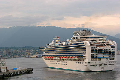 Vessels Photograph - Diamond Princess Leaving Vancouver British Columbia Canada by Christine Till