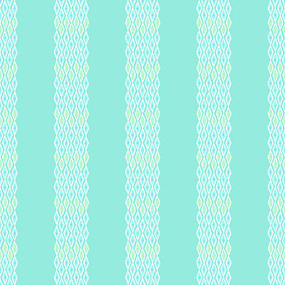 Digital Art - Diamond Rain Teal Stripes by Karen Dyson