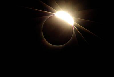 Photograph - Diamond Ring 1-solar Eclipse 4 by Larry Kjorvestad
