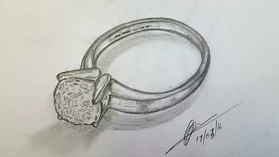Still Life Drawings - Diamond Ring  by Collin A Clarke