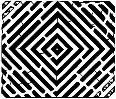 Diamond Shaped Optical Illusion Maze Art Print by Yonatan Frimer Maze Artist