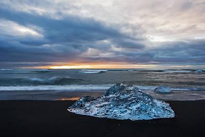 Photograph - Diamond Sunrise, Jokulsarlon Bay, Iceland by Brad Scott