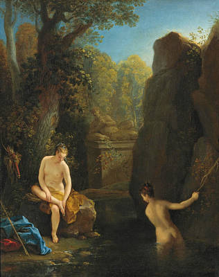 Jean Raoux Painting - Diana And A Nymph Bathing by Jean Raoux