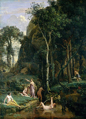 Landscape Painting - Diana And Actaeon, Diana Surprised In Her Bath by Camille Corot