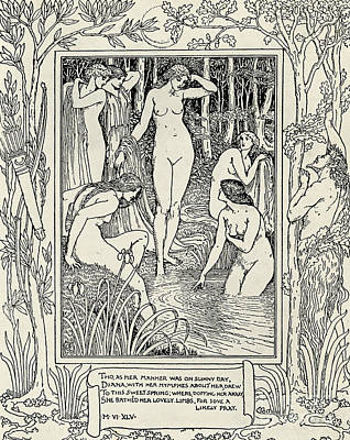 Black Sex Drawing - Diana And Her Nymphs Illustration For The Faerie Queen by Walter Crane