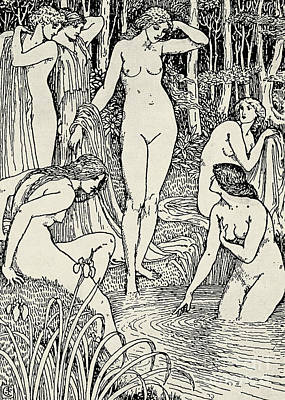 Black Sex Drawing - Diana And Her Nymphs by Walter Crane