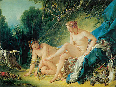 Diana Bathing Art Print by Francois Boucher
